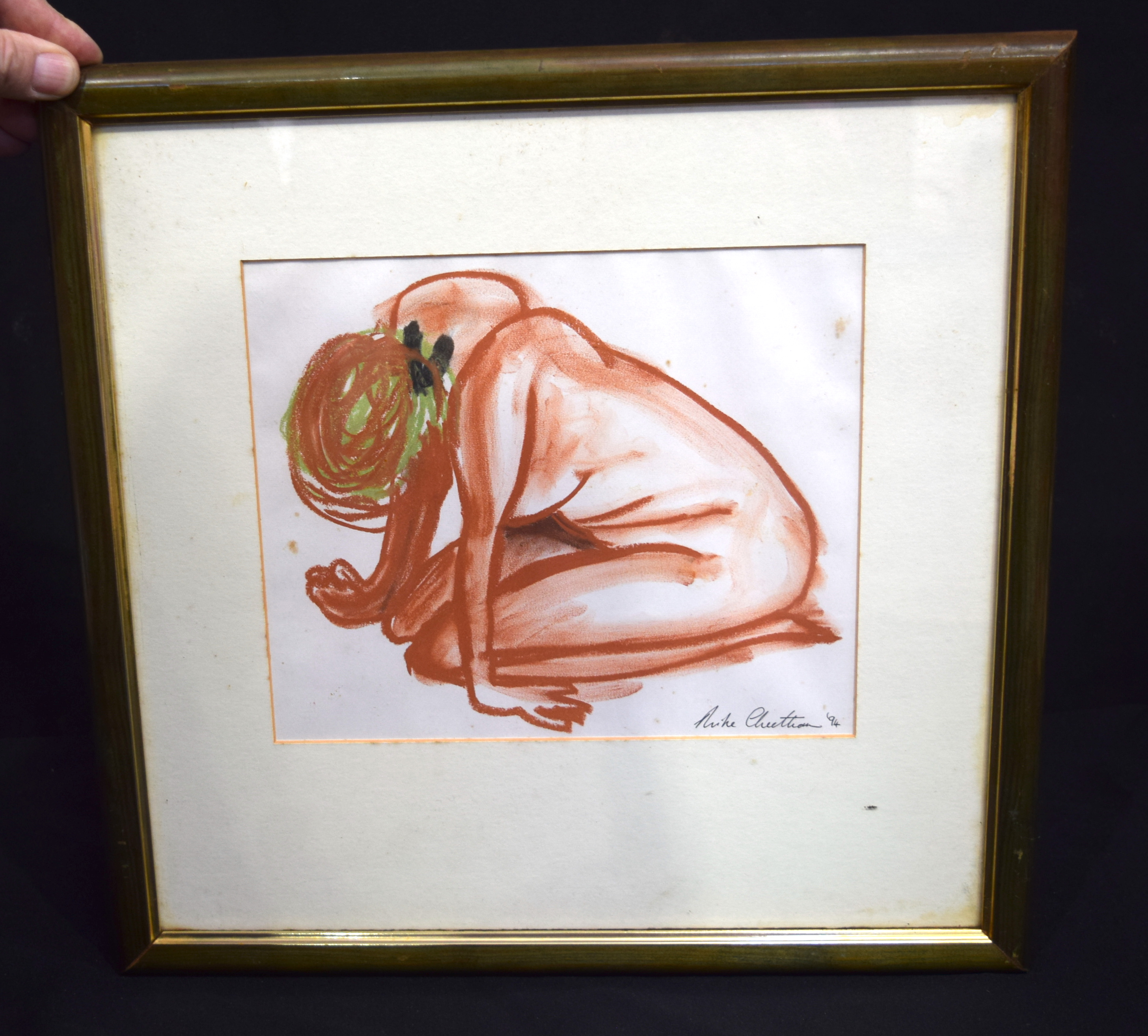 Framed pastel of a naked female by Mike Cheetham. 21 x 25cm.