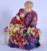 A RARE LARGE ROYAL DOULTON FIGURE OF THE FLOWER SELLERS CHILDREN HN 1342. 24 cm x 16 cm.