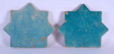 TWO 12TH/13TH CENTURY PERSIAN KASHAN TURQUOISE GLAZED POTTERY TILES. 28 cm x 22 cm. (2)