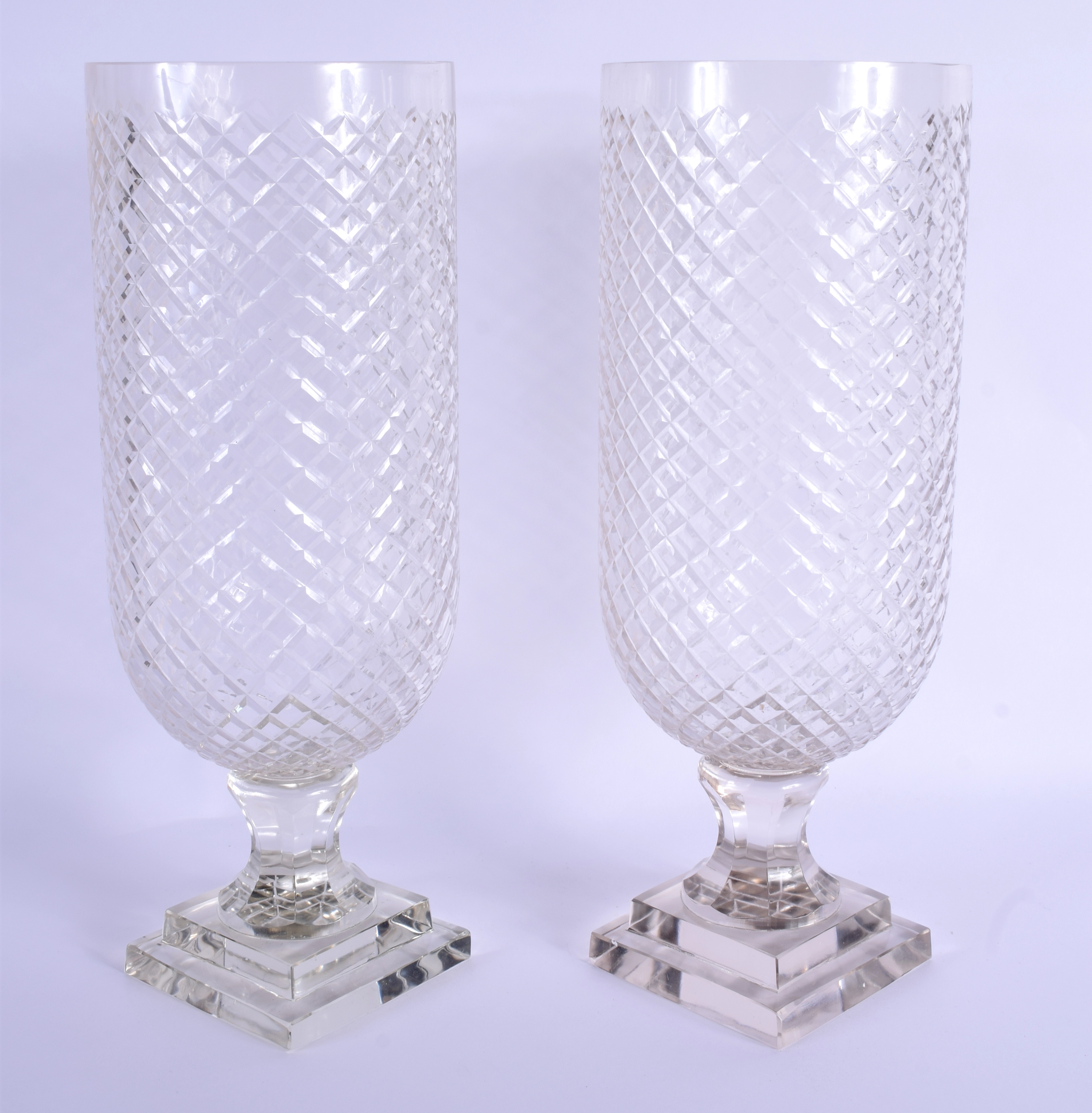A PAIR OF CUT GLASS STORM CELERY LAMPS. 39 cm high. - Image 2 of 2