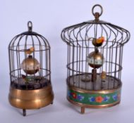 TWO CONTEMPORARY AUTOMATON BIRD CAGE CLOCKS. Largest 21 cm high. (2)