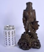 A RARE 18TH/19TH CENTURY CHINESE LACQUERED BRONZE JADE FIGURE OF A SCHOLAR Qing, modelled roaming ho