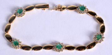 AN 18CT GOLD DIAMOND AND EMERALD BRACELET. 13 grams. 18 cm long.