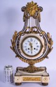 A LARGE 19TH CENTURY FRENCH WHITE MARBLE AND ORMOLU MANTEL CLOCK with bold sunburst terminal and aca