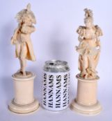A PAIR OF 19TH CENTURY EUROPEAN DIEPPE CARVED IVORY FIGURES modelled as a dandy and female upon a pe