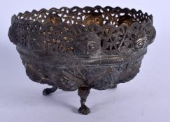 AN ANTIQUE INDO TIBETAN SILVER PIERCED BOWL decorated with buddhistic figures. 149 grams. 7.5 cm x 1
