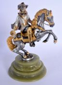 A 1950S EUROPEAN SILVERED BRONZE FIGURE OF A CAVALIER modelled upon an onyx base. 21.5 cm high.