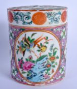 A 19TH CENTURY CHINESE CANTON ENAMEL TEA CADDY AND COVER Qing, painted with figures and landscapes.