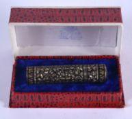 A BOXED THAI SILVER NIELLO BOTTLE. 20 grams. 7 cm high.