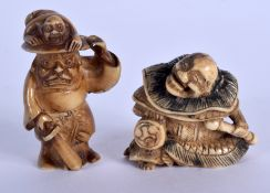 A 19TH CENTURY JAPANESE MEIJI PERIOD CARVED IVORY NETSUKE together with another. Largest 3.5 cm x 3.