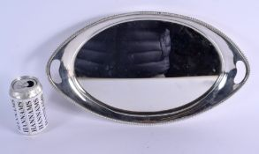 A VICTORIAN TWIN HANDLED MIRRORED SERVING TRAY. London 1896. 1242 grams overall. 42 cm wide.