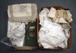 TWO BOXES OF VINTAGE LACE. (qty)