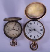 AN ANTIQUE SILVER AND GOLD POCKET FOB WATCH together with a yellow metal match. Largest 5 cm diamete