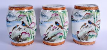 THREE JAPANESE TAISHO PERIOD KUTANI PORCELAIN PILLOWS painted with birds and landscapes. 24 cm x 18