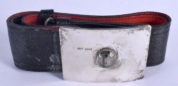 A 1970S SCOTTISH SILVER MOSS AGATE AND LEATHER BELT. Edinburgh 1977. 276 grams overall. Buckle 9.5 c