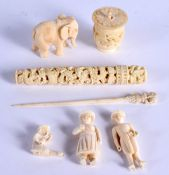 A 19TH CENTURY CHINESE CANTON IVORY NEEDLE CASE together with an other antique ivory etc. (7)