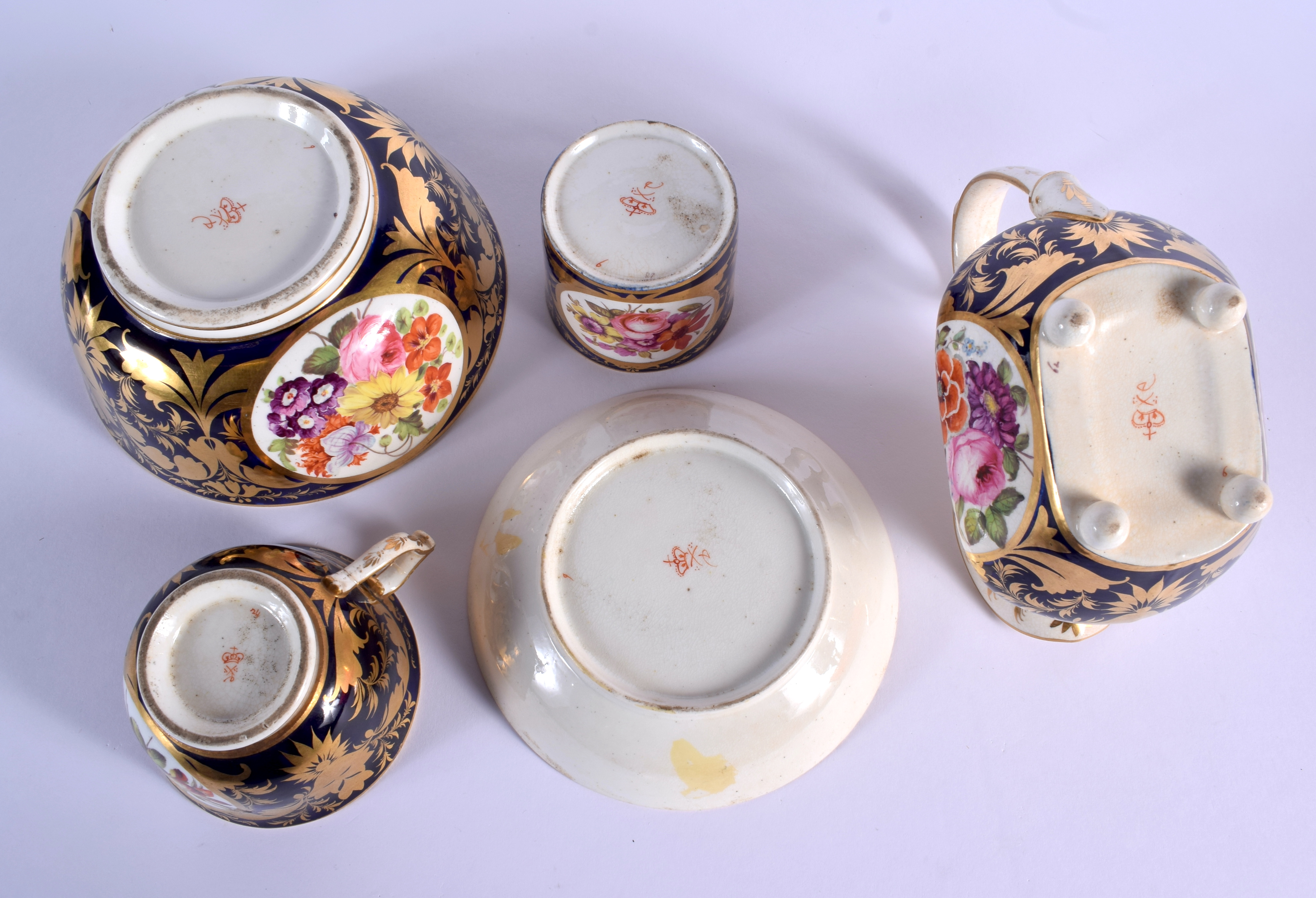 AN EARLY 19TH DERBY PORCELAIN TEAWARES including a trio, cream jug and slop bowl. Largest 12 cm diam - Image 3 of 3