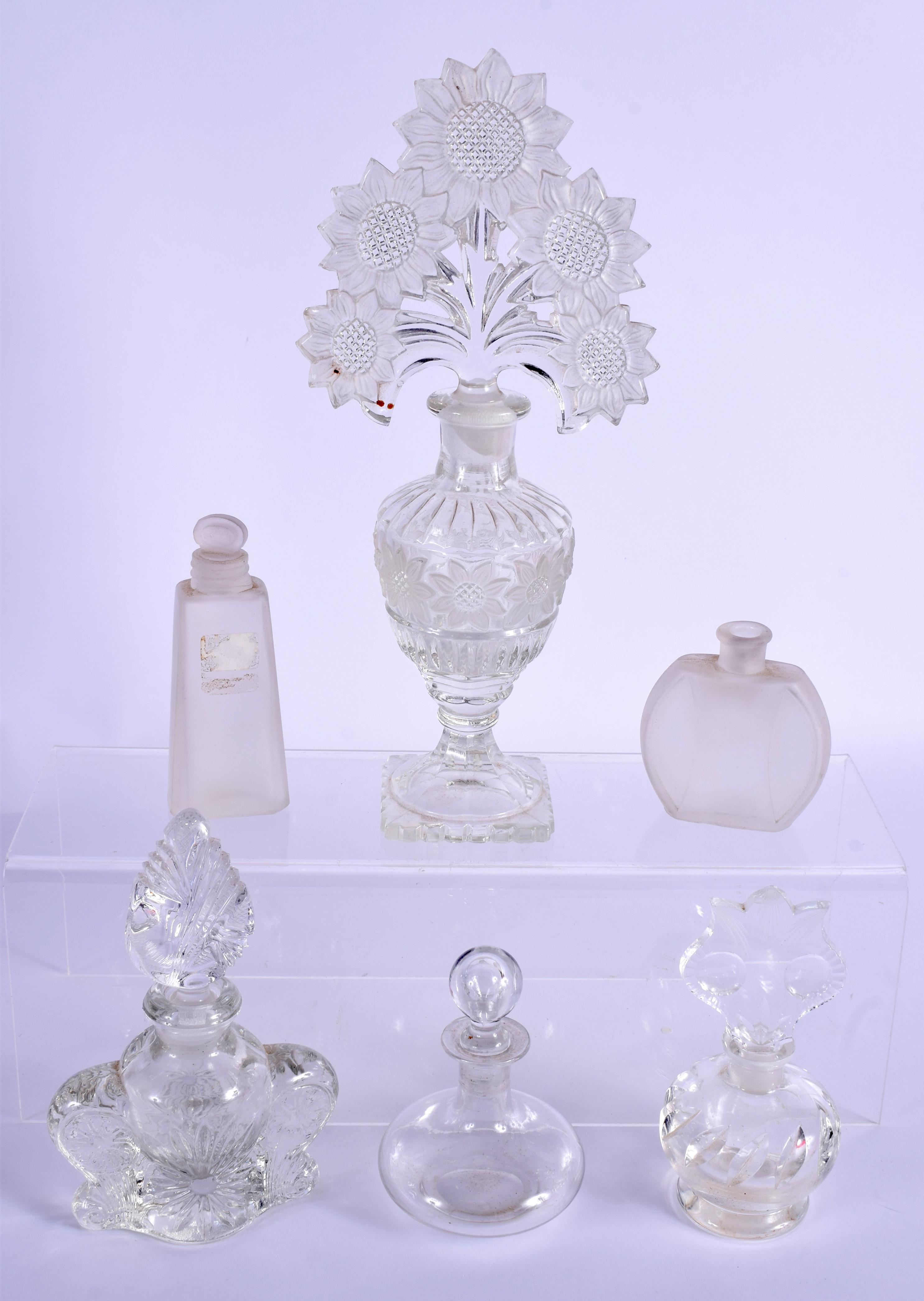 SIX ART DECO GLASS SCENT BOTTLES. Largest 15 cm high. (6) - Image 2 of 2