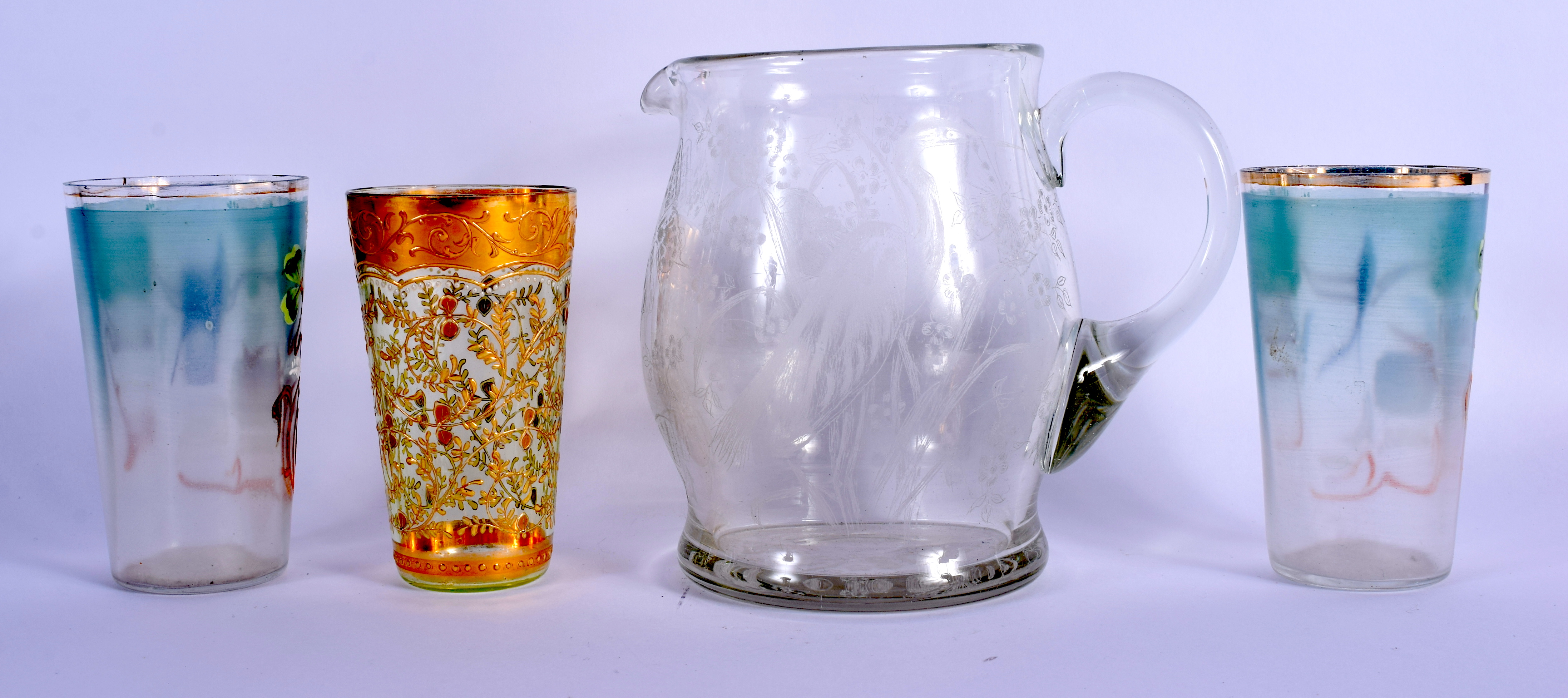 A PAIR OF VINTAGE ENAMELLED CONTINENTAL CUPS together with a jug etc. (4) - Image 2 of 4