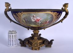 A LARGE 19TH CENTURY FRENCH SEVRES PORCELAIN TWIN HANDLED JARDINIERE jewelled in turquoise and paint