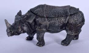 A CONTEMPORARY COLD PAINTED BRONZE RHINOCEROS INKWELL. 15 cm x 9 cm.