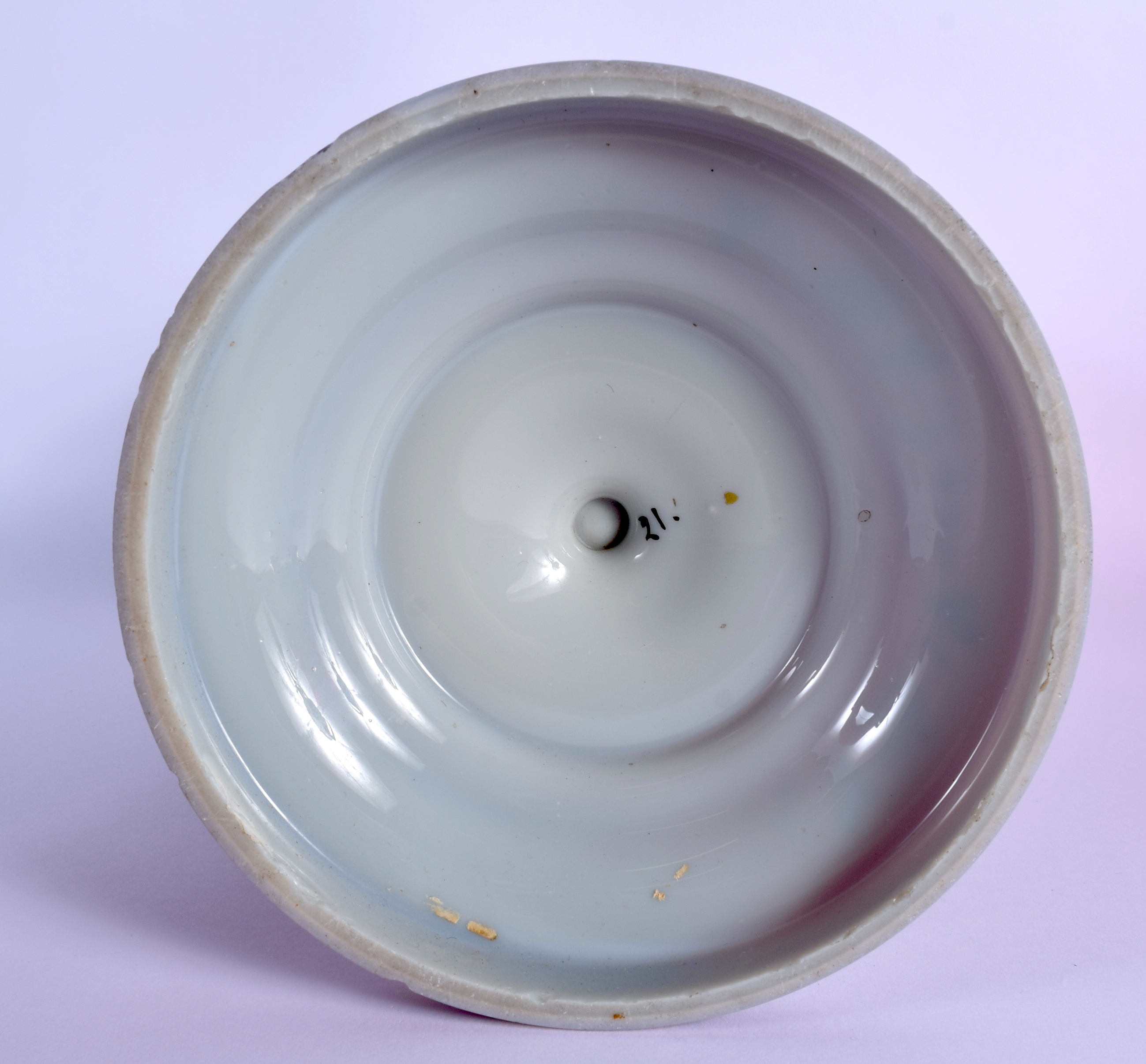 A LATE VICTORIAN/EDWARDIAN ENAMELLED GREY PURPLE GLASS OIL LAMP BASE decorated with a bird. 27 cm hi - Image 3 of 3