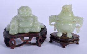 AN EARLY 20TH CENTURY CHINESE CARVED JADE FIGURE OF A BUDDHA Late Qing/Republic, together with cense