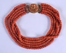 AN 18CT GOLD EUROPEAN AND CORAL NECKLACE. 230 grams. Each strand 33 cm long.