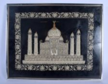 A VINTAGE INDIAN SILVER AND GOLD THREAD EMBROIDERY OF THE TAJ MAHAL. Image 36 cm x 28 cm.