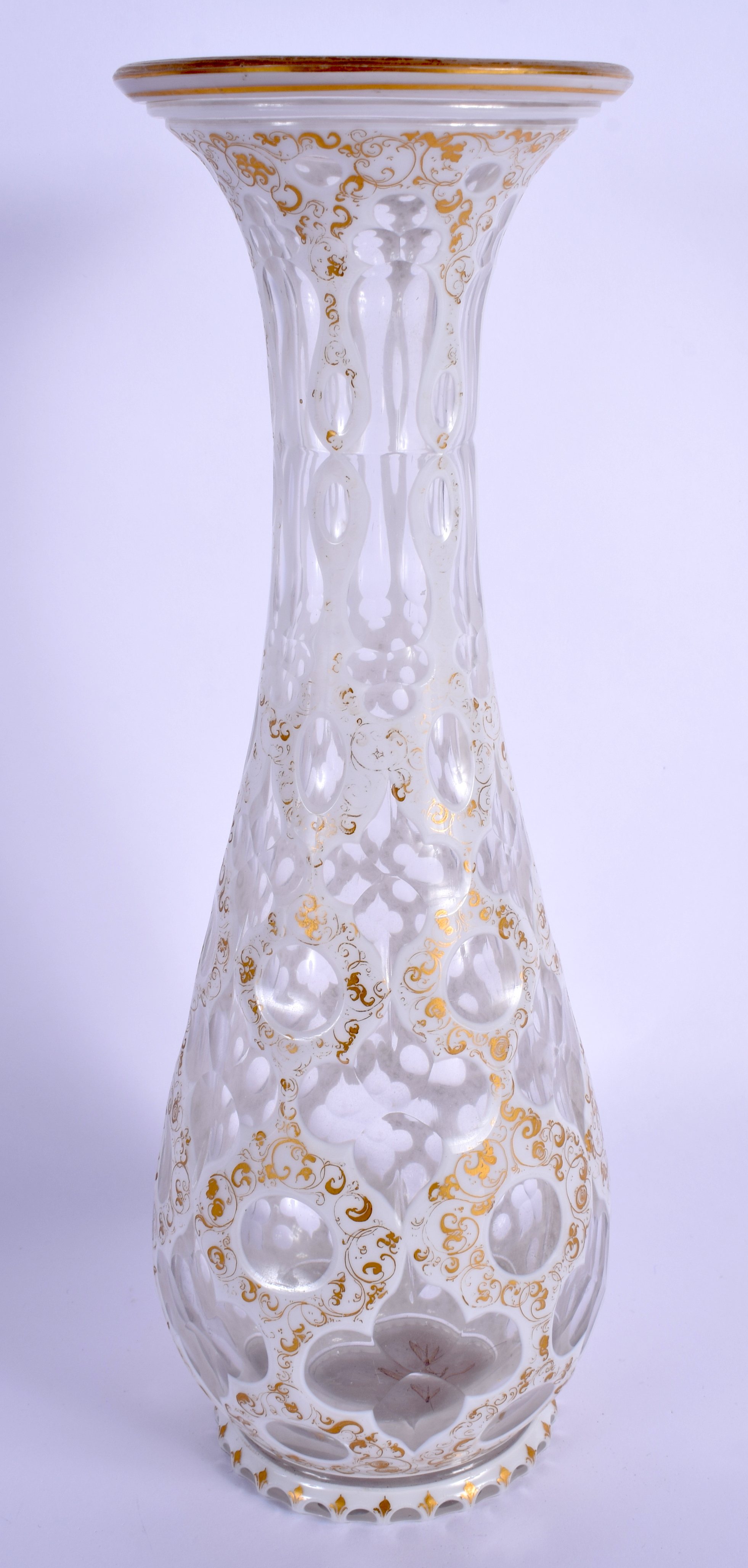 A 19TH CENTURY BOHEMIAN WHITE OVERLAID VASE painted with gilt and foliage. 32 cm high. - Image 2 of 3