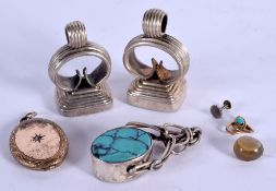 SILVER AND TURQUOISE FOBS etc. (qty)
