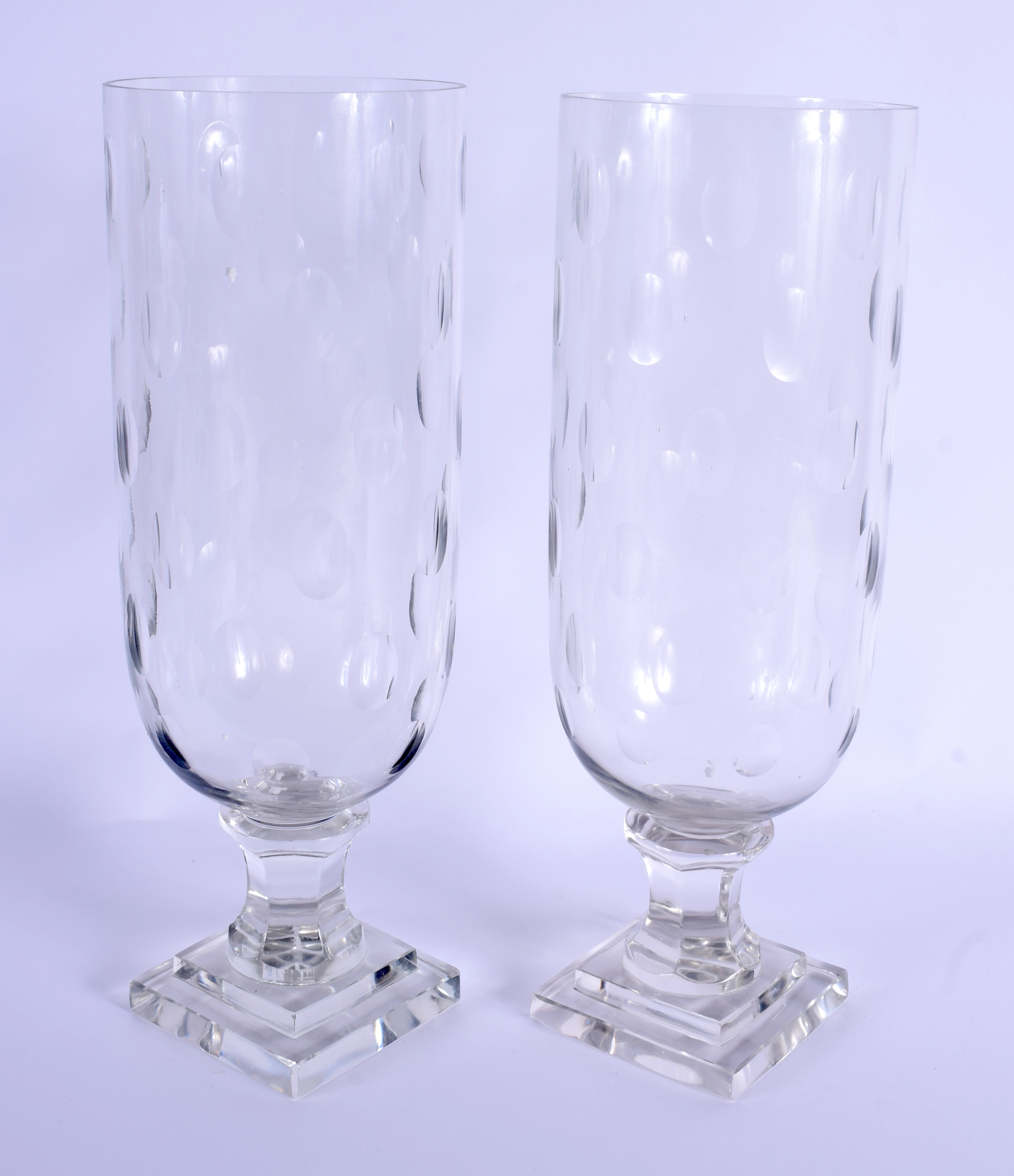 A PAIR OF EUROPEAN CELERY STORM STYLE GLASS VASES. 34 cm high. - Image 2 of 2