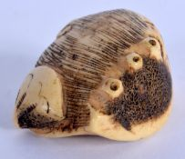 A RARE 18TH/19TH CENTURY JAPANESE EDO PERIOD STAG ANTLER NETSUKE of naturalistic form. 4 cm x 3.25 c