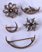 FIVE VICTORIAN 15CT GOLD BROOCHES. 10 grams. (5)