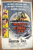 BATTLE OF THE CORAL SEA movie poster, 1959, horizontal, and vertical folds, 105 cm x 68 cm, THE SHAD