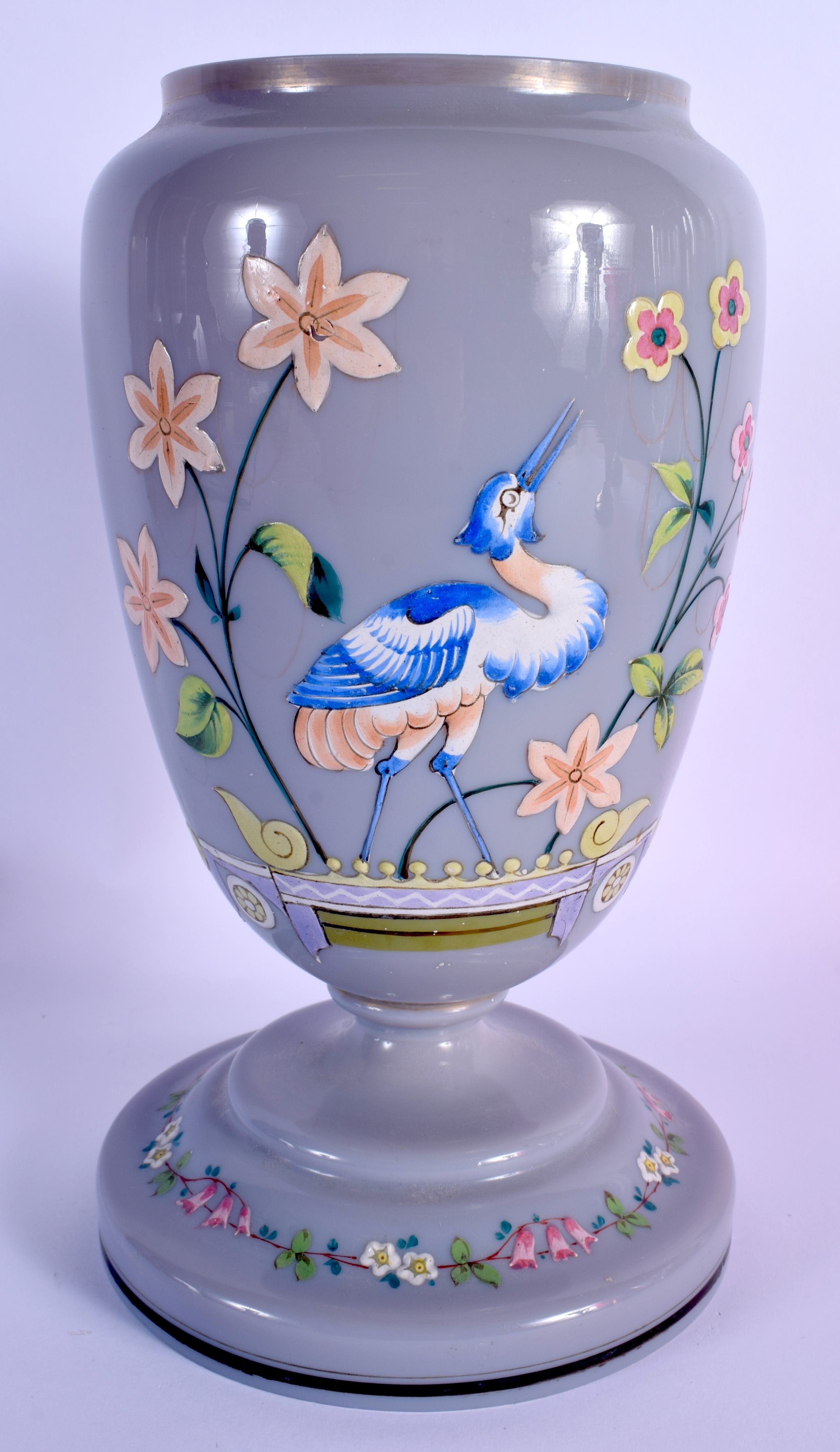 A LATE VICTORIAN/EDWARDIAN ENAMELLED GREY PURPLE GLASS OIL LAMP BASE decorated with a bird. 27 cm hi