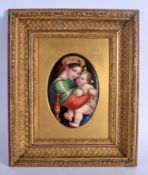 A LATE 19TH CENTURY GERMAN PORCELAIN PLAQUE probably by KPM, painted with the Madonna and Child. Pla