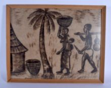 A RARE TRIBAL PICTORIAL BARK CLOTH TAPA PAINTING probably Pacific Islands of Mbuti Pygmies. Image 50