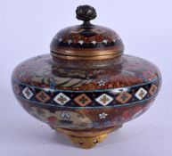 A 19TH CENTURY JAPANESE MEIJI PERIOD CLOISONNE ENAMEL CENSER AND COVER decorated with birds and foli