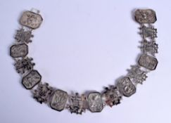 A LATE 19TH CENTURY CHINESE EXPORT SILVER BELT. 174 grams. 66 cm x 5.5 cm.