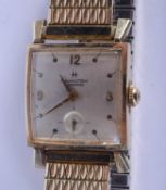 A 14CT GOLD HAMILTON WRISTWATCH presented to Ford General Motors Company employee Stanley A Staszews