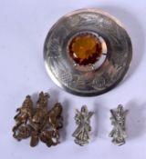 A LARGE SCOTTISH PLAID BROOCH etc. Largest 8 cm diameter. (4)