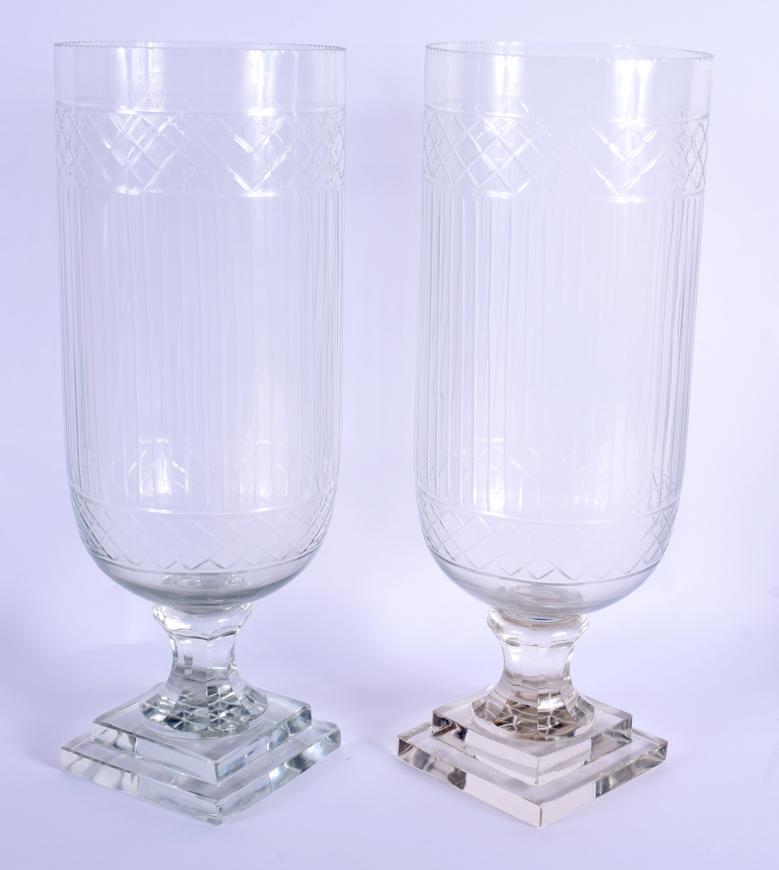 A PAIR OF EUROPEAN CELERY STORM STYLE GLASS VASES. 40 cm high. - Image 2 of 2