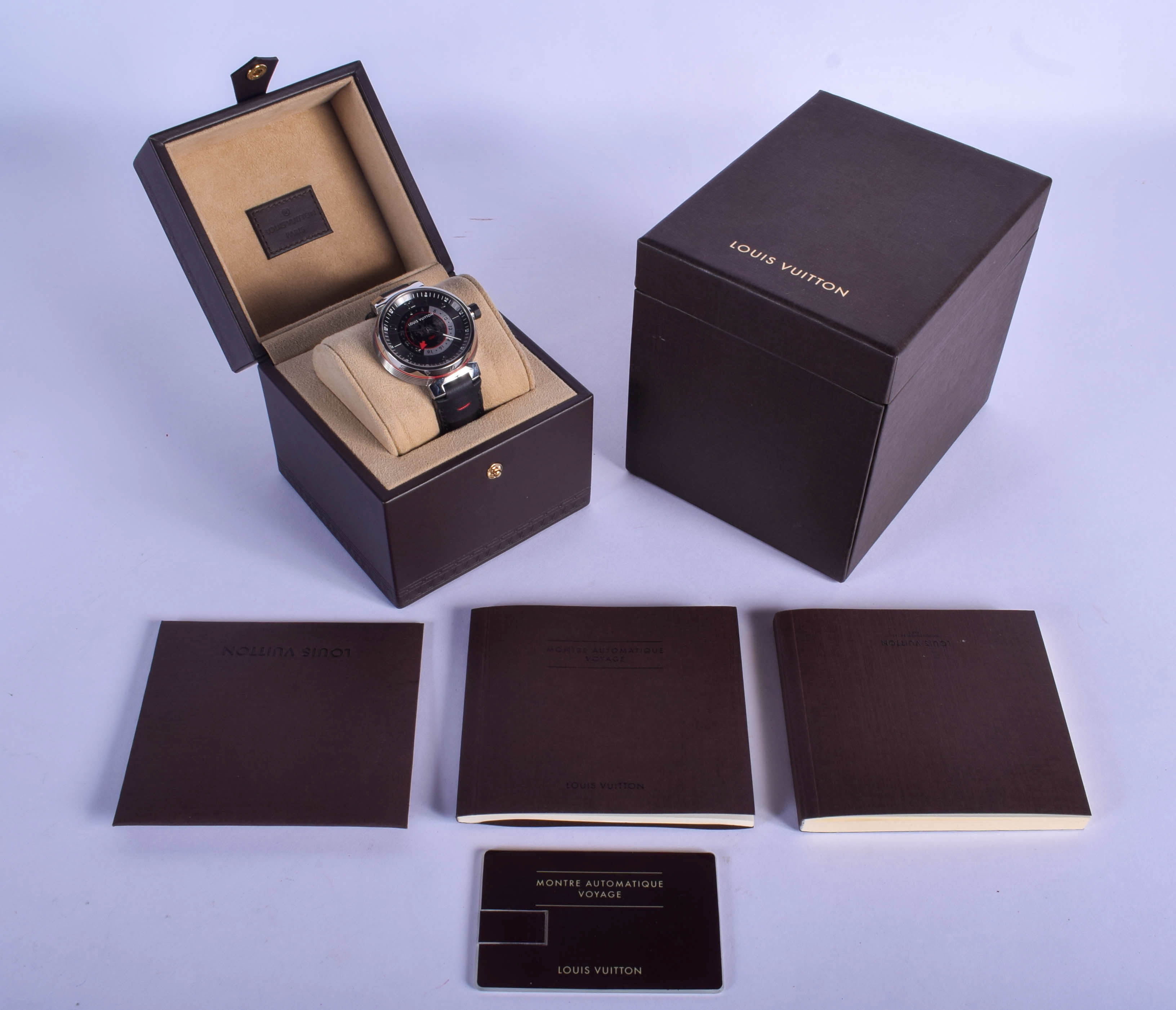 A BOXED LOUIS VUITTON GMT GLOBE WRISTWATCH. 3.5 cm wide. - Image 3 of 3