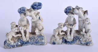 A VERY UNUSUAL PAIR OF 18TH CENTURY ASIAN BLUE AND WHITE FIGURES possibly Chinese or Korean, modelle