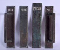 THREE 1930S BRONZE PUSH DOOR HANDLES. 40 cm x 10 cm. (3)