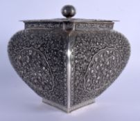 A 19TH CENTURY CHINESE TIBETAN STRAITS SILVER CENSER AND COVER decorated with foliage and vines. 970