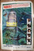 SHARKS TREASURE movie poster, horizontal and vertical fold, 105 cm x 68 cm, INSTINCT FOR SURVIVAL, M
