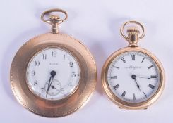 TWO ANTIQUE GOLD PLATED ELGIN WATCHES. Largest 4.75 cm diameter. (2)