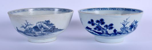 TWO 18TH CENTURY CHINESE BLUE AND WHITE PORCELAIN BOWLS Qianlong, one possibly shipwreck. 15 cm diam